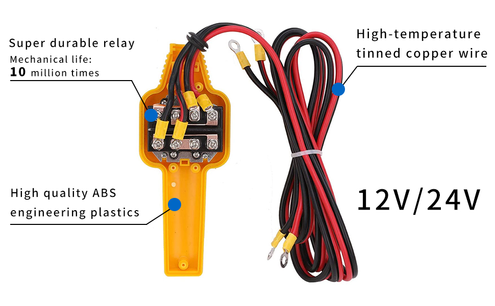 Yellow Fydun Winch Wired Controller Hand Control Assembly Push ...