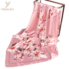 New 90*90 square scarf designs wholesale fashion women Soft Magnolia flowers scarves multiple uses Triangle scarf