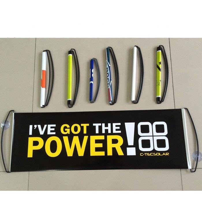 Пользовательские печати Мини 24*70 см Roll Up Выдвижной спортивный вентилятор ручной прокрутки баннер