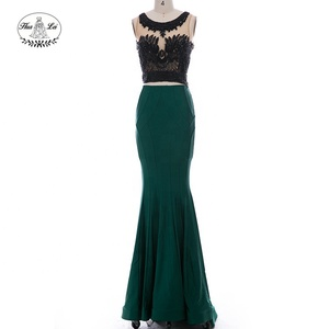 New fashion lady elegant two piece lace appliqued mermaid sexy women evening party prom dress 2017