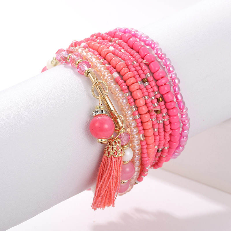 Fancy Bohemia handmade jewelry multilayer bracelet natural stone crystal tassel bracelet set wholesale