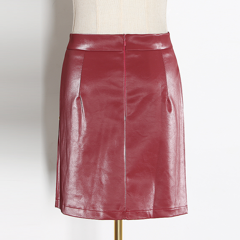 CHICEVER Patchwork Asymmetrical High Waist Pins PU Leather Casual Mini Skirt