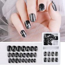24 шт поддельные ногти пресс на ногтях с клеем кончики для ногтей ложный клей для ногтей на ногтях искусственные ногти дисплей на ногтях(Китай)