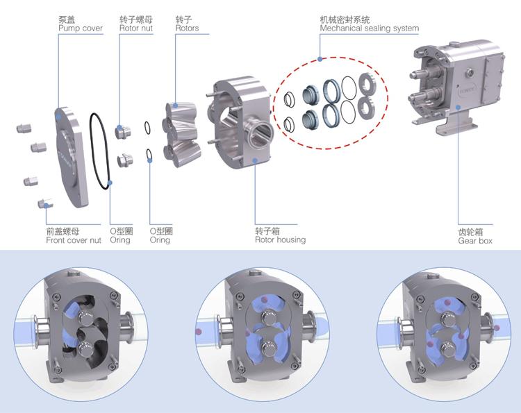 Engrenagem da bomba DONJOY design personalizado material de alta viscosidade bomba de transferência bomba de lóbulo sanitária para o chocolate de leite