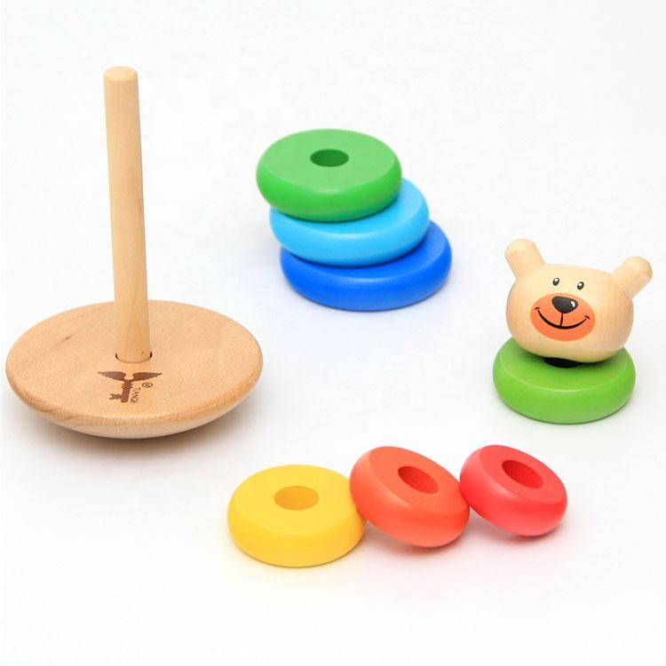 Educational Toy Bear Set Tower Stacking Ring Animal Balance Tumbler Rainbow Wooden Montessori Toy