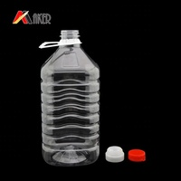 Clear Plastic PET Water Bottle with screw cap, 5L beverage bottle