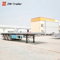 60 Ton loading capacity 3 axles 40 ft 20 ft flatbed container semi trailer