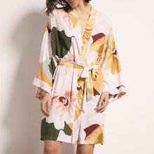 Платье с цветочным рисунком, женское хлопковое шелковое ночное белье 2020, летняя Домашняя одежда с поясом, женский новый сексуальный удобный...(Китай)
