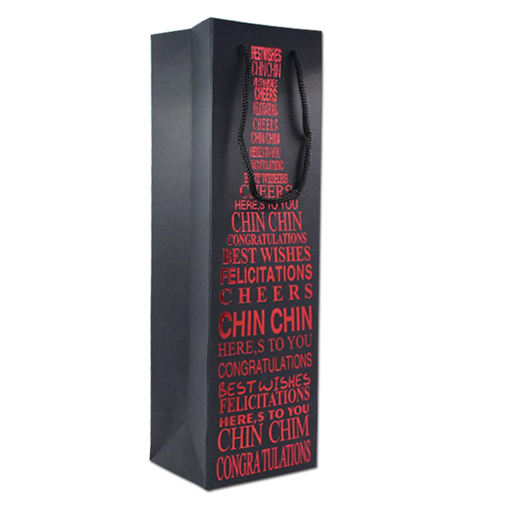 Personalizado bronzeamento fonte vinho saco pacote de presente saco de papel com alça de papel