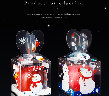 Wholesale  Christmas Apple PVC Box Gift Candy Cookie Santa DIY Packing Box On Sale