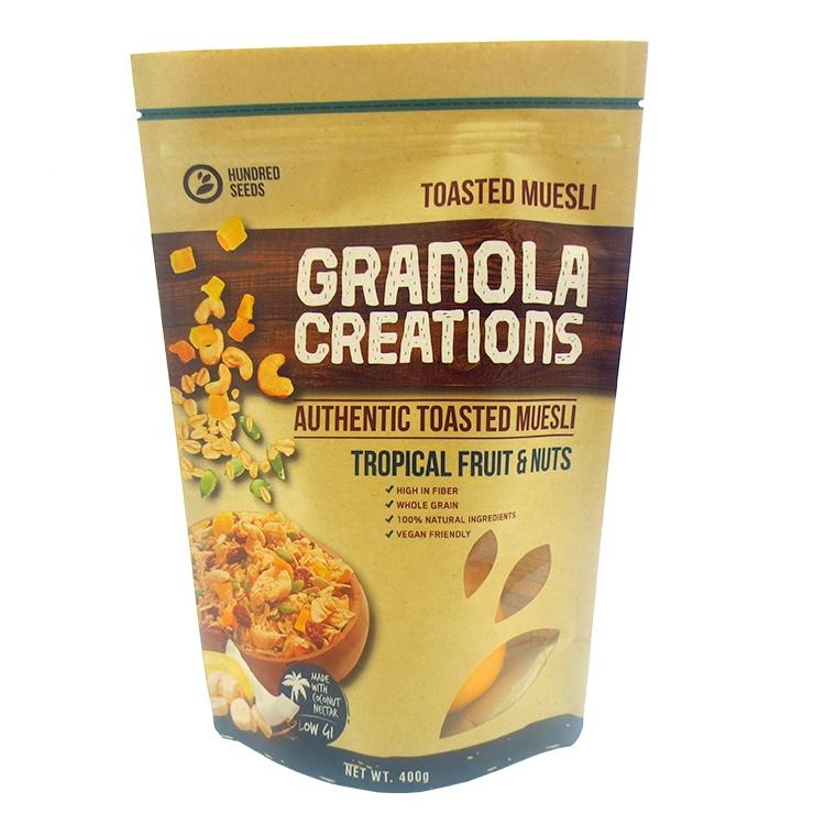 100g 250g 500g 100% चीन कस्टम पर्यावरण के अनुकूल प्राकृतिक जैविक खाद्य पैकेजिंग के लिए क्राफ्ट पेपर बैग खाना ग्रेड पागल नाश्ता