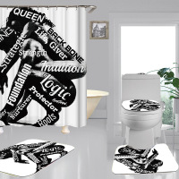 Black white African american woman shower curtain with set