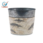 Wooden Natural Birch Bark Covered Galvanized Planter Handmade Flower Pots & Planters