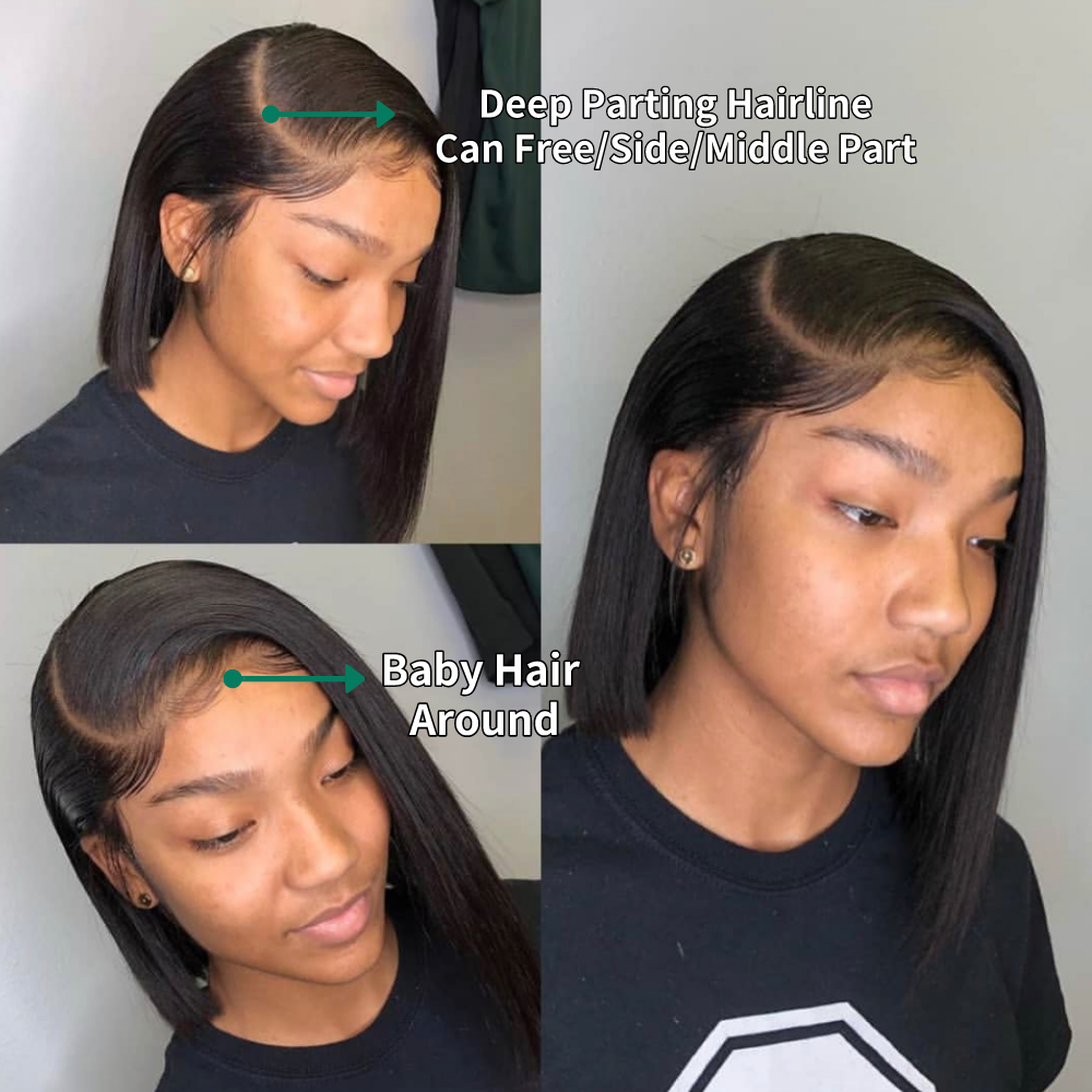 JcXBL wholesale hair vender pre plucked lace front wig with baby hair,natural Brazilian body wave short Bob wigs for black women