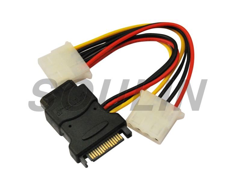 15 Pin SATA macho a doble hembra de 4 pines de disco duro IDE Cable de adaptador de alimentación 150mm 18AWG
