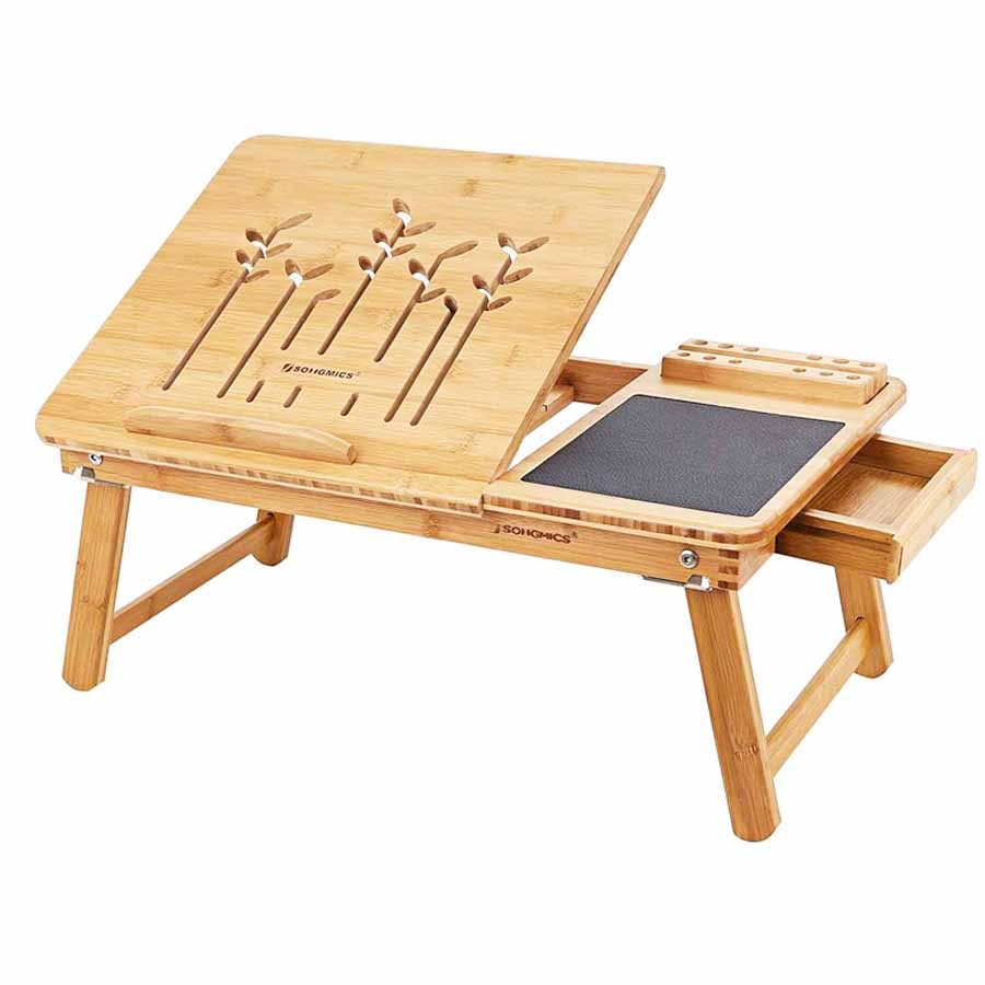SONGMICS <strong>Folding</strong> Adjustable Bamboo Bed Breakfast Tray <strong>Table</strong> <strong>Laptop</strong> Desk Computer <strong>Table</strong>