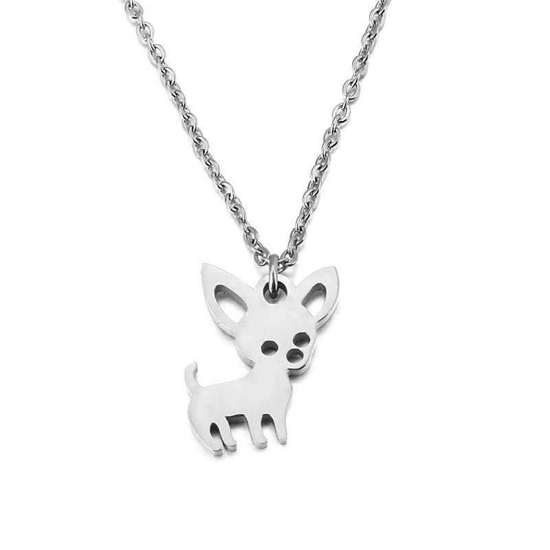 Wholesale Fashion Custom Animal Shapes Cute Gold Chihuahuas Dog Pendant Necklace For Women Girl Statement Jewelry Gift