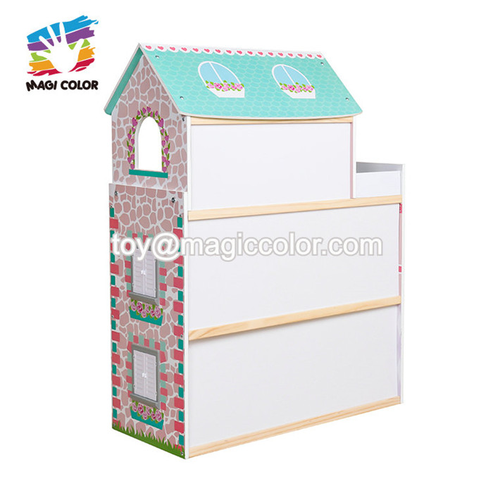 Most popular 3 floors kids wooden doll house set with elevator W06A372