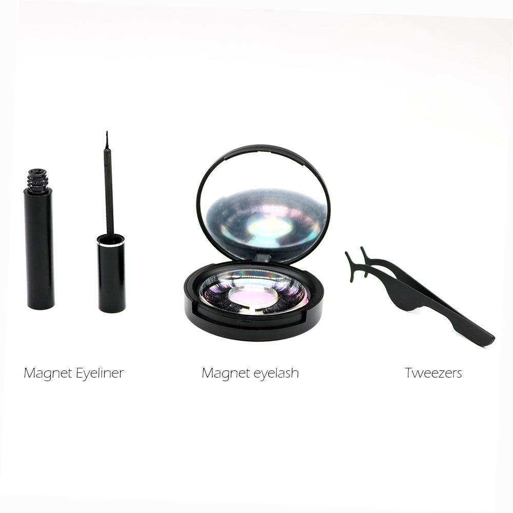 2020 latest Allergy prevention 3d magnetic eyelashes box magnetic eyeliner and eyelashes tweezer