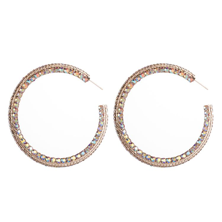 2020 New Trendy European Style Big Large Gold Plated AB Crystal Diamond C Shape Round Hoop Earrings