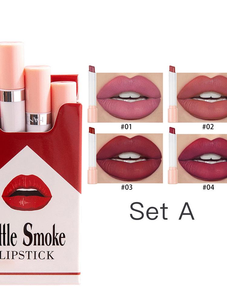 4 pcs in Set Lippenstift Rauch Box Matte Wasserdichte Lippenstift Tönungen Wenig Rohr Verpackung Kosmetik Lippenstift