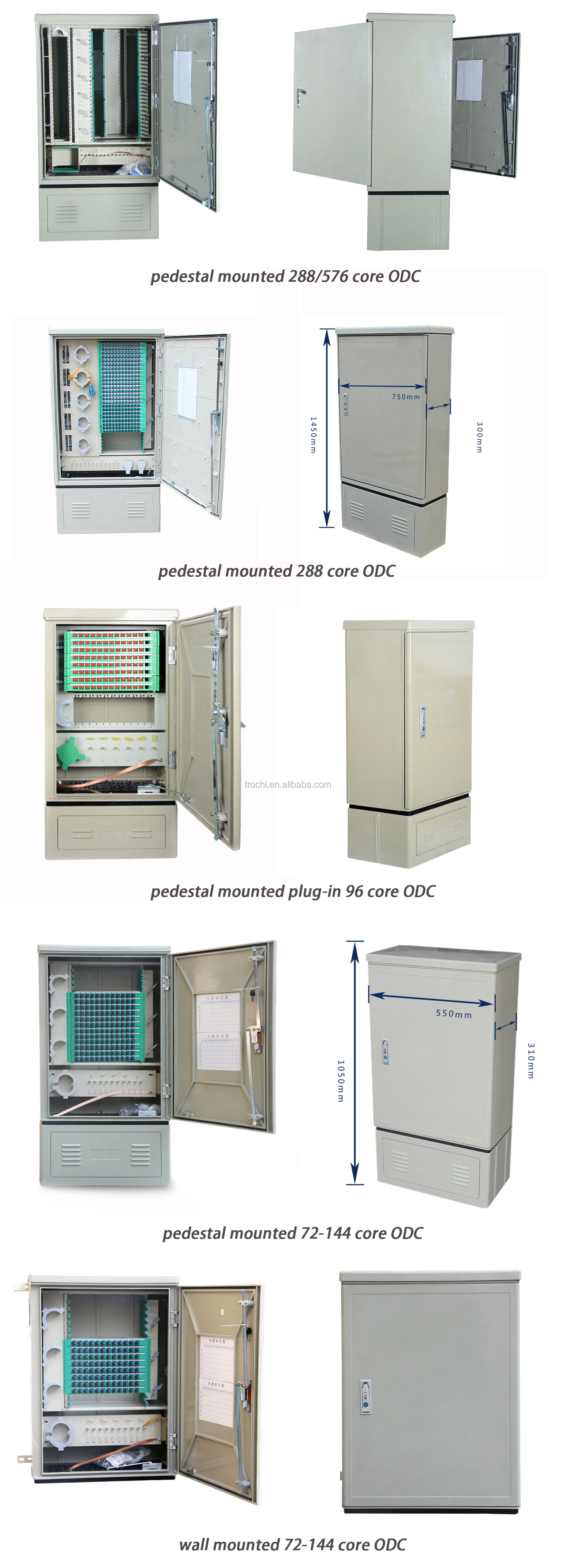 Outdoor 288 core SMC pedestal mounted fiber distribution cabinet wholesales price