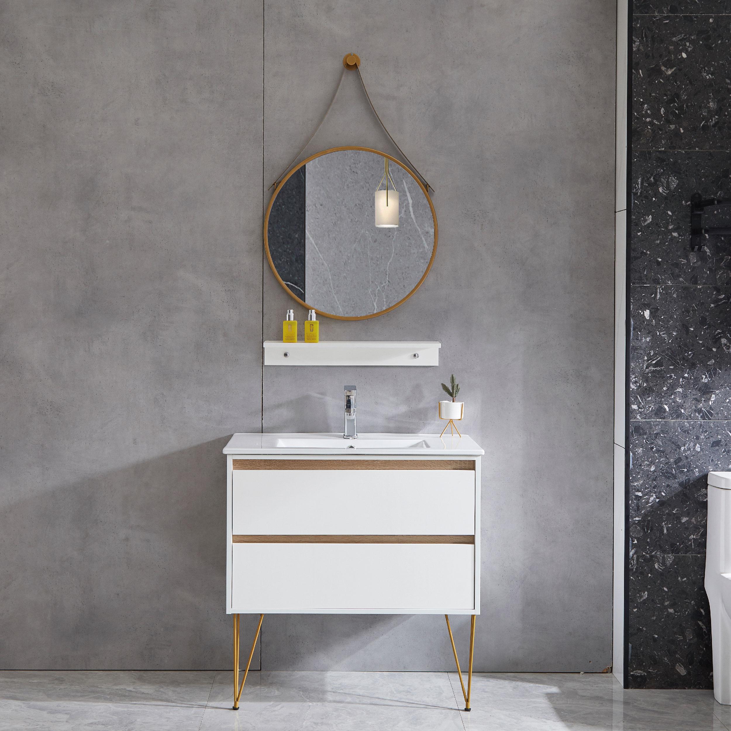 Modern Single Sink Style freestanding Metal legs Bathroom Cabinet