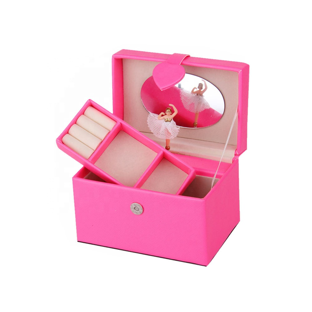 Faux leather gift music jewelry box with ballerina dancing custom jewelry gift boxes