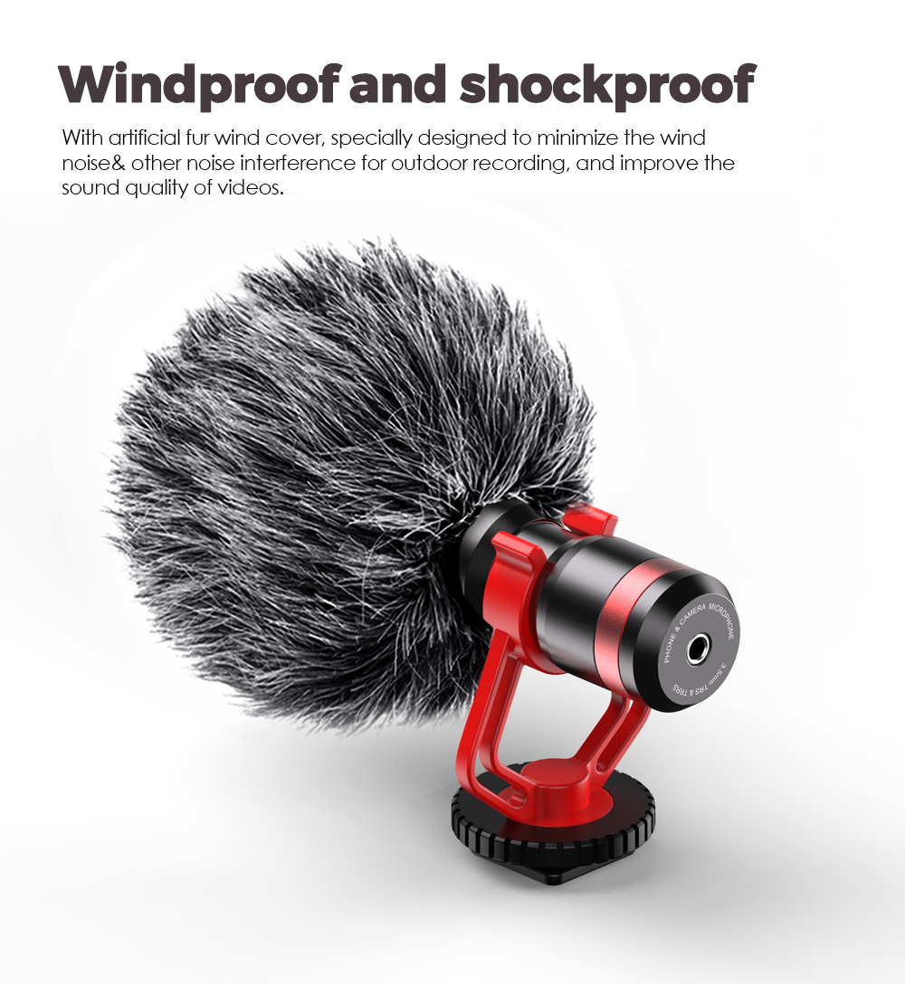 Apexel Flexible clip Camera Microphone with cold shoe Vlogging Microphone for iPhone and YouTube Video