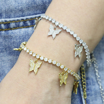 Wholesale Luxury Bling Diamond White Gold Plated Lucky Tennis Chain Diy Jewelry Womens Mens Butterfly Ankle Bracelets