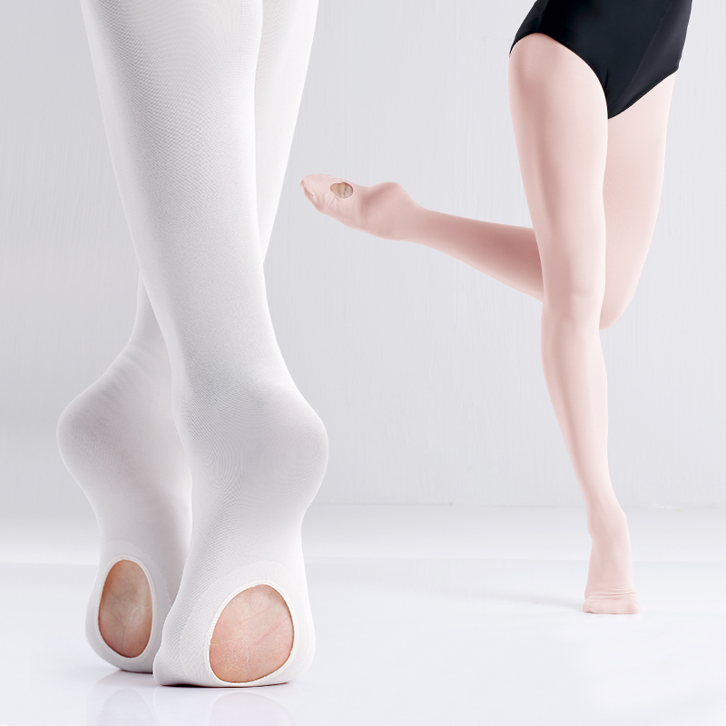 60D Girls Pink White Convertible Ballet Tights