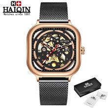 HAIQIN модные спортивные мужские часы, лучший бренд, роскошные квадратные механические часы, мужские часы, полые скелетоны erkek kol saati 2019(Китай)