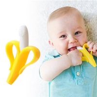 Hot Sale 100% Food Silicone Banana Baby Infant Training Toothbrush And Teether