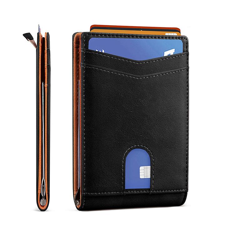 BSCI Minimalist Front Pocket bifold custom rfid carbon fiber leather credit card holder mens super slim wallet with coin poceket