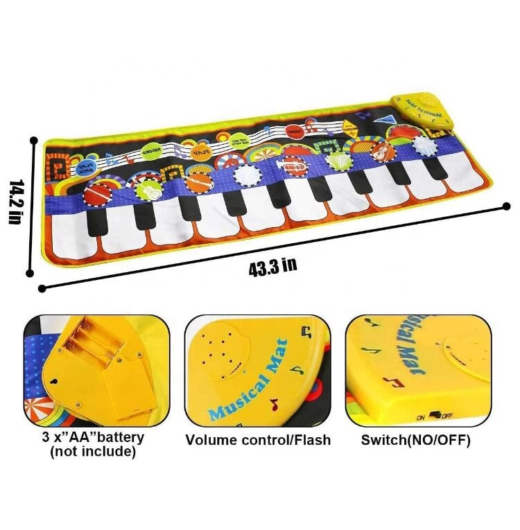 110x36cm Piano Mat, Music Mat Toy for Kids Toddlers, Keyboard Playmat Touch Play Game Dance Blanket Carpet Mat