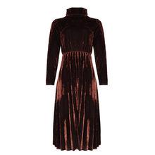 Размер S-4Xl размера плюс женское платье Элегантное темпераментное Плиссированное тонкое Золотое бархатное платье элегантные женские вечер...(Китай)