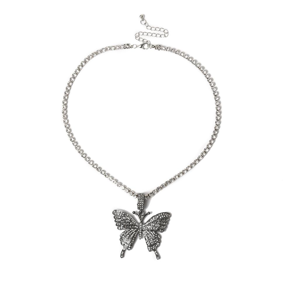 HOVANCI 2020 Bohemian Exaggerated Pink Cubic Zirconia Big Butterfly Charm Pendant Necklace CZ Tennis Butterfly Choker Necklace