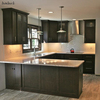 Latest American style mdf kitchen cabinet applying wood veneer finish