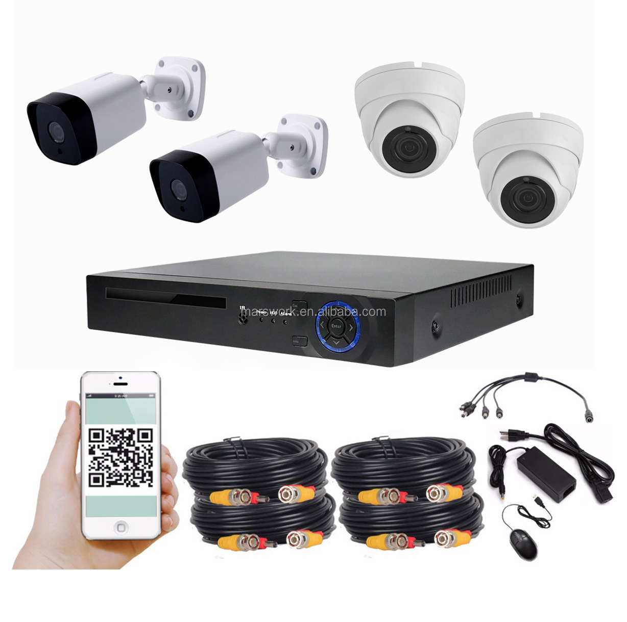 IP67 waterdichte bullet en dome 30m nachtzicht 4pcs 4mp ahd camera 5mp DVR 4CH AHD DVR kit p2p