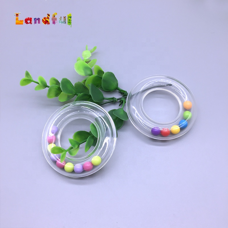 Baby Plastic Rattle Ring in Clear Colorful Beans Insert Craft Toy Rattle Ring Baby Plastic Rattle Toys
