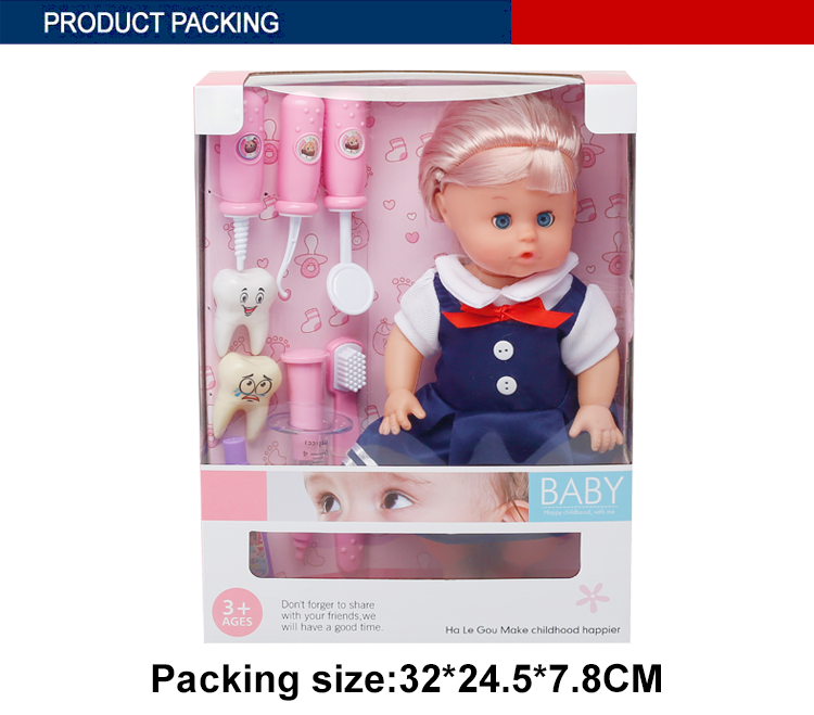 best selling 12 inch cute dolls baby gift with dentist set toy