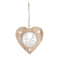 Top sales product in china natural wooden laser cut christmas heart center hollow out deer & tree pattern wall decor hanging