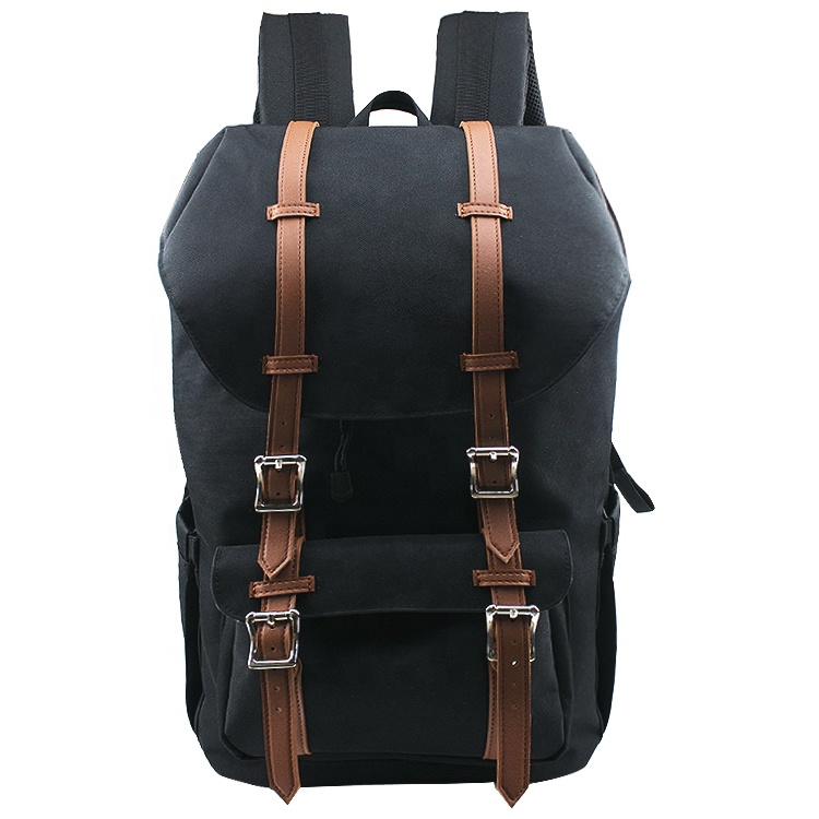 Custom Men Polyester and Leather Large Capacity Backpack Travel with USB Port and Laptop Compartment