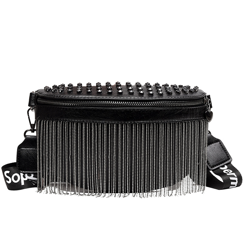 Fashion Girls PU Leather Tassel Waist Bag Black Ladies Chest Bags