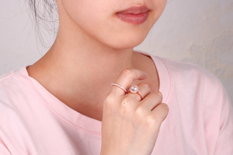 product-BEYALY-925 Sterling Silver Gemstone Stackable Eye Shaped Zircon Ring Womens-img-2