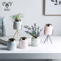 Nordic style simulation green plant pot decoration small marbled ceramic vase for interior decoration