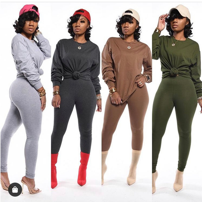 New Solid Two Pieces Suits Sets T-Shirt with Biker Pants Outfits 2 Piece Set Fitness Women Summer Tracksuits