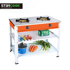 Colored stainless steel double gas cooker table stander gas cooktop