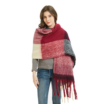 Occident Winter High Quality Thick Tassel Big Red Plaid Scarf For Women Shawl