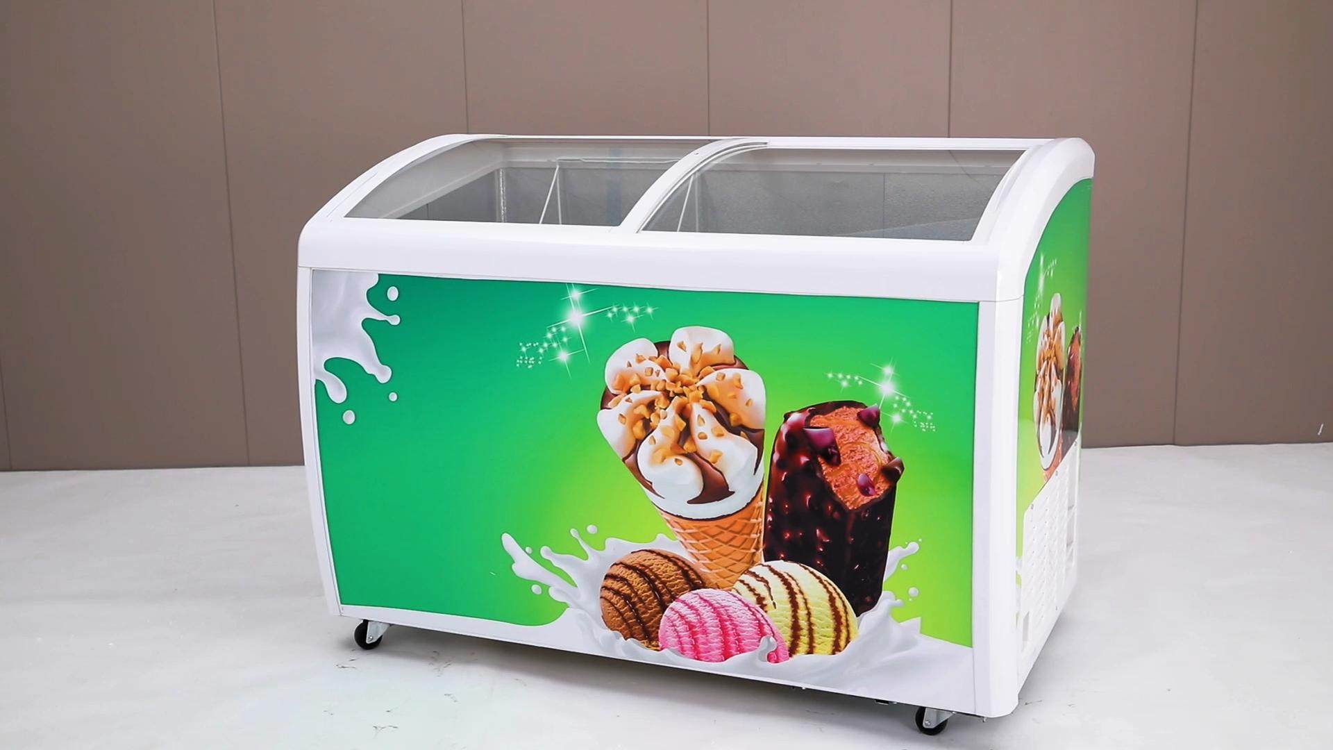 미니 유리 문 아이스크림 디스플레이 냉동고/소용량 슈퍼마켓 상업 가슴 쇼케이스
